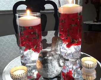 Cylinder Floating Candle Set with flowers -party-wedding-gift-anniversary-birthday-shower-