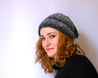 grunge knit beanie, blue and gray knit hat, alpaca wool beret with tassel, handknitted beaniehat  mother's day gift Inspirational womens