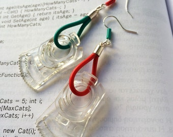 Handmade techie earrings, geek, nerd, gift for her, engineer, modern, recycle computer gears, cables, colorful modern jewelry