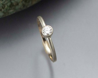 Diamond Engagement Ring - 3.4mm (.15ct) Diamond Ring in solid 14k white or yellow gold