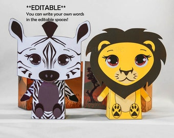 Editable Safari Favor Box Set for Safari Party! ZEBRA & LION