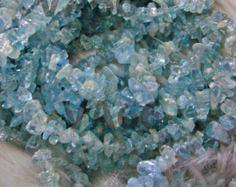 "DIY 35"" Blue Aquamarine Gemstone Chips Size 4mm - 12mm Genuine Gemstones Gems Loose Beads Jewelry Making Craft Random Shapes Sewing Wedding"