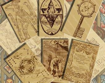 Vintage Mysticism Symbols and Illustrations Digital Collage Sheet, Large Images, Instant Printable Download