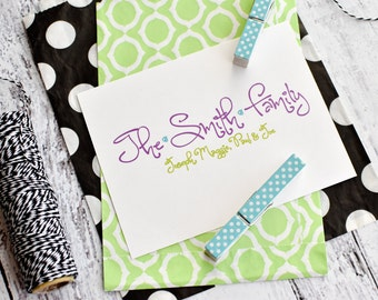 Personalized Family Stationery -Family Note Cards - Personalized Stationery - Whimsy Family Notes - Set of Notes - Notecards - Stationary