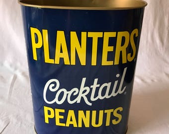 Vintage 1969 Planters Peanuts Trash Can Waste Basket New Old Stock Adveritising Collectible Kitchen Cheinco USA Metal Display