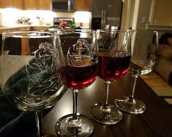 Essence Series Custom Etched Wine Glasses