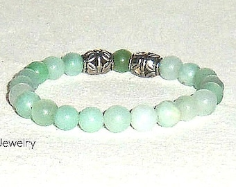 """Men's Bracelet: Amazonite and Silver Plated Copper Beads """"Courage"""""""