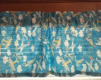 Airplanes, Helicopters & Clouds Valance  (Medium Blue)~ 42 Inches Wide