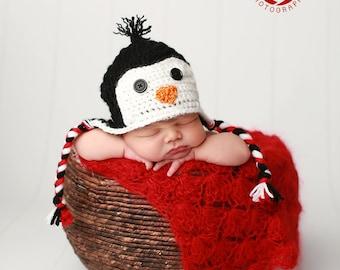 Baby Penguin  Hat/Crochet Penguin Hat/Newborn Penguin Hat/Christmas Newborn Prop
