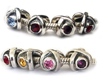 Birthstone Sterling Silver Large Hole Beads for Bracelets