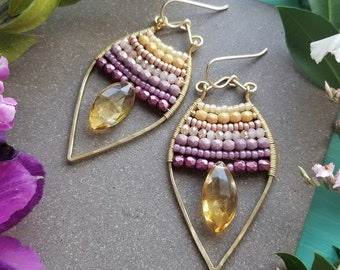 Beaded Citrine Petal Earrings in Gold >> Golden Citrine Gems w/Yellow, Pink, Lilac, and Purple Crystals - Gemstone, Boho Luxe