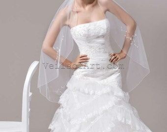 NWT 1T Fingertip Bridal Wedding Veil Beaded Edge VE168 Handcrafted