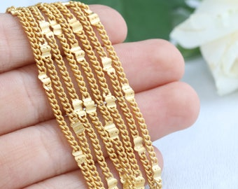 Gold Plated Chain, Curb Chain, 24K Gold Plated Curb Chain, 2mm Curb Chain, 1/10 Meters, Matte Gold Chain,SKU/CH11