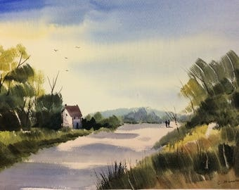 Original Watercolor Landscape Painting - Summers Road