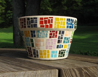 Mosaic Flower Pot-Mosaic Planter-Multi Color-Patchwork Design-Mosaic Art-Garden Decor-Azalea Pot-Home Decor-Stained Glass-Terra Cotta