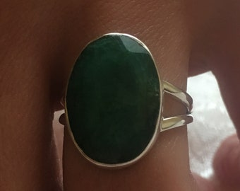 Emerald natural, 925 silver sterling ring / size 59
