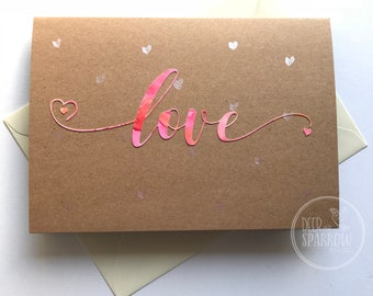 Love - Greetings Card - hand painted card - Anniversary Card - Valentines Card - Wedding Card - LCA3