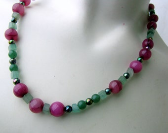 Gemstone Beaded Necklace | Dark Berry Quartz | Green Jade | Green Aventurine | Original Handcrafted