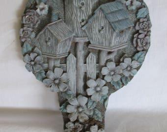 """Clay garden stake, birdhouses bordered in flowers, garden art, rustic, 8"""" x 5"""""""