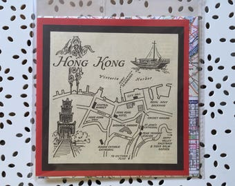 Hong Kong Vintage map card