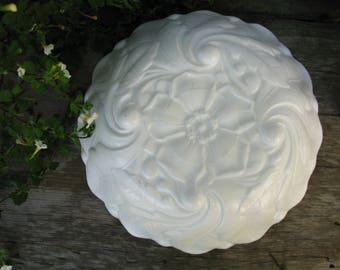 Large Milk Glass Bowl, White Textured Serving Bowl, Wedding Serveware, Vintage Wedding Gift