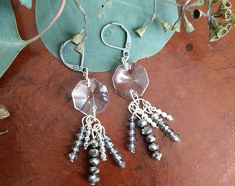 Repurposed Chandelier Glass Earrings with Seed Beads