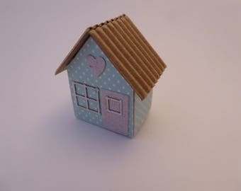 Handmade Gingerbread-style house ornament for the 1/12th scale dolls house - shabby chic- blue/white