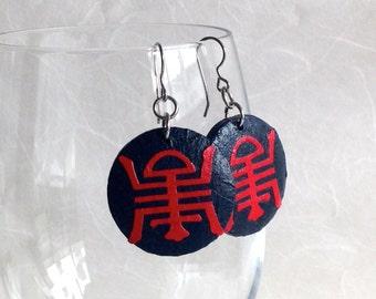 Round Navy Red Hanji Paper Earrings Dangle Red Black Shou Longevity Symbol Chinese Character Hypoallergenic hooks Lightweight Ear rings