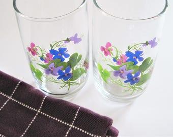 Violets Glasses, J. Walsh Violets, Hand Painted Glasses, Violet Flower Glass, Painted Glasses, Violets Tea Glasses, Flower Tumbler, Violet