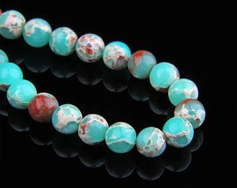 "Natural Snakeskin Beads , Round Snake skin Beads , Gemstone Beads , Jasper Beads , Blue Stone Beads , 6mm 8mm 10mm 12mm Beads 15.5"" Strand"