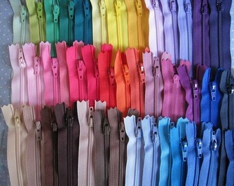 7 Inch YKK Zippers - Set of 24 pcs - 24 Colors Random Mixed