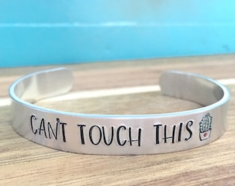 Cactus Cuff Bracelet, Cactus Jewelry, Cant Touch This Hand Stamped Bracelet, Southwest Cactus Bracelet, Funny Bracelet, Cactus Lover Gift