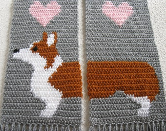 Corgi Scarf.  Grey knitted and crochet scarf with Welsh corgi dogs.  Scarves with Pembroke welsh corgis and pink hearts. Corgi gift