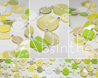 Absinthe - Long necklace made of buttons