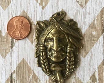 Indian Head Pendant Antiqued Gold Bronze Pewter Pendant Craft, Jewelry Supplies