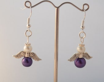 Handmade Purple Pancreatic Cancer Awareness Gaurdian Angel Earrings