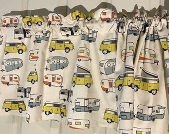 Tan with retro vintage campers on the go Curtain Valance