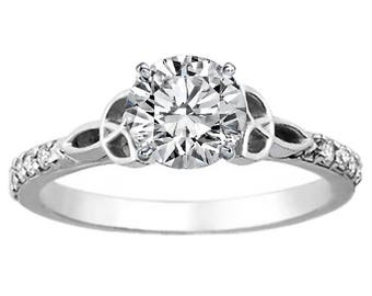 Forever Brilliant Moissanite Celtic Knot Engagement Ring with Diamond Accents