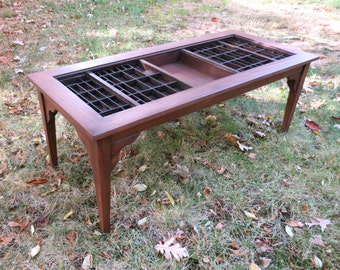 Custom handmade coffee table, cocktail table, collection display table under a glass top that lifts out and a printers drawer built-in.