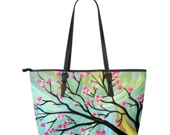 Large Vegan Leather Tote - Cherry Blossoms 01