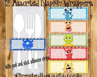 Monster Napkin wraps Monster Baby shower Decorations Monster Birthday napkin band Paper napkin ring holder utensil wrapper 12 peel and stick