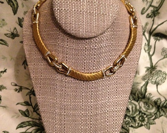 Christian Dior Gold and Rhinestone Necklace--Signed