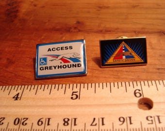 Vintage Greyhound Bus Lines' Pins with Pictures of Greyhounds