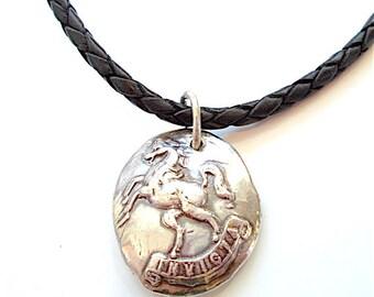 UNCONQUERED - INVICTA Silver Horse, Men's Jewelry Pendant . Mens Accessory . Latin Phrase . Heirloom Quality . Equestrian Gift