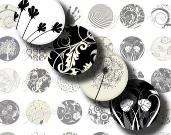 Shades of Black (1) Digital Collage Sheet - Circles 1inch - 25mm or smaller - Stylish Flourishes in blacks - See promo offer