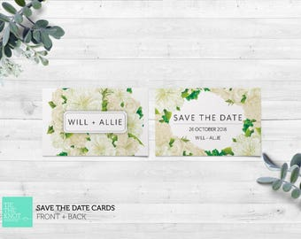 Printed Save the Date Cards   Spring Floral Wedding Stationery   White Floral Bouquet