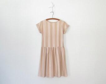 Summer Sand Midi Dress // Vintage 80s Dress // Capped Sleeves // Drop Waist // Small