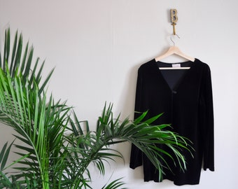 Relaxed Fit Velour Cardigan