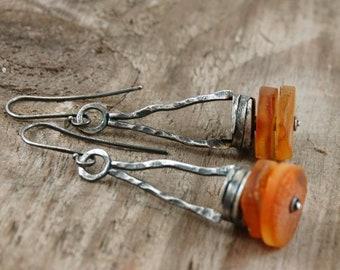 baltic amber earrings,  oxidized silver earrings, long earrings