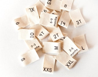 100 Clothing Size Labels - organic cotton size tags